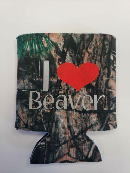 I Love Beaver Koozie Camo 1
