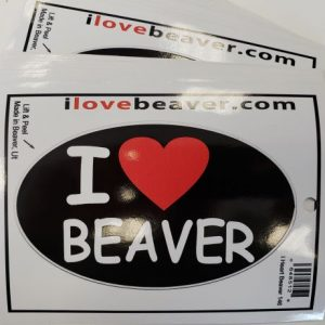 I Love Beaver Oval Sticker 2